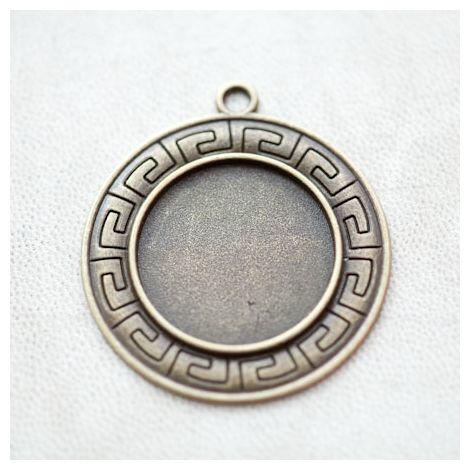 Pendentif à Cabochon 25mm Contour Ancien Ethnique Bronze vieilli