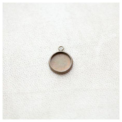 Pendentif à Cabochon Rond 10mm Bronze vieilli