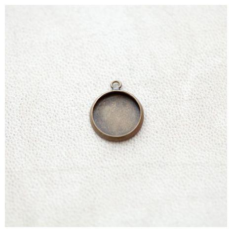Pendentif à Cabochon Rond 12mm Bronze vieilli