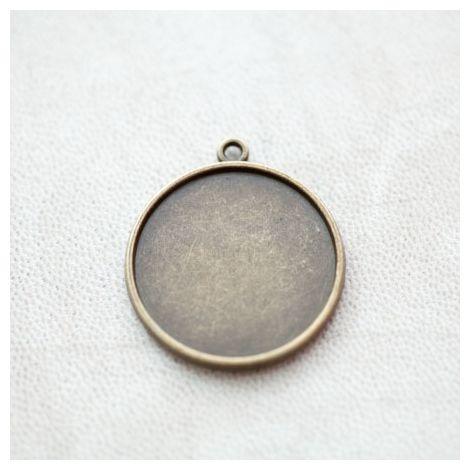 Pendentif à Cabochon Rond 25mm Bronze vieilli