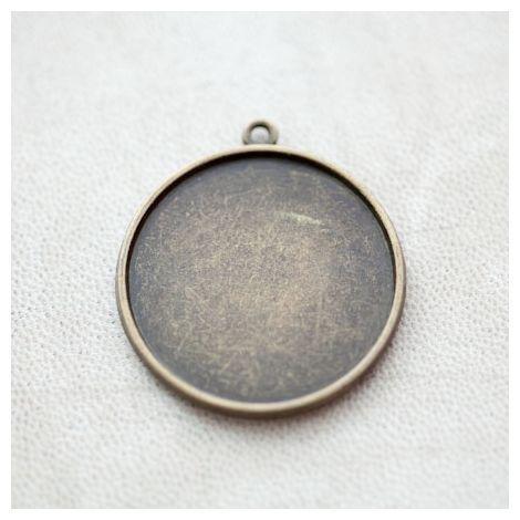 Pendentif à Cabochon Rond 30mm Bronze vieilli