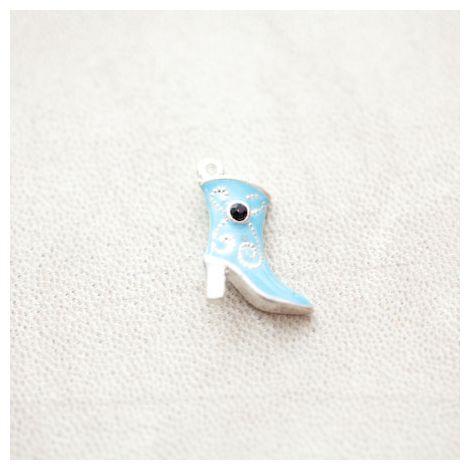Pendentif Botte Strass 23mm Argenté Émaillé Bleu Turquoise