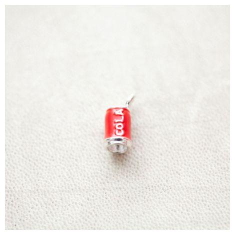 Pendentif Canette Cola 16mm Argenté Émaillé Rouge