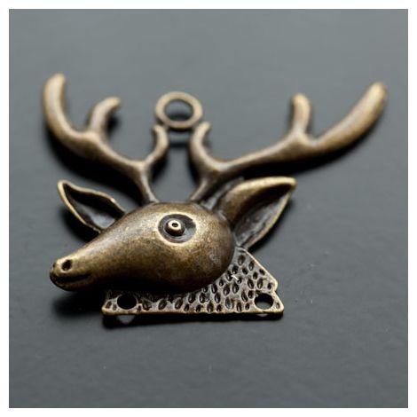 Pendentif Chandelier Tête de Cerf Bronze vieilli