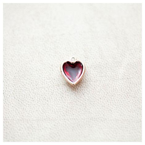 Pendentif Coeur 13mm Doré Émaillé Rouge Transparent