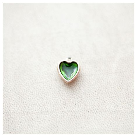 Pendentif Coeur 13mm Doré Émaillé Vert Transparent
