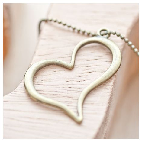 Pendentif Coeur fil penché Bronze vieilli