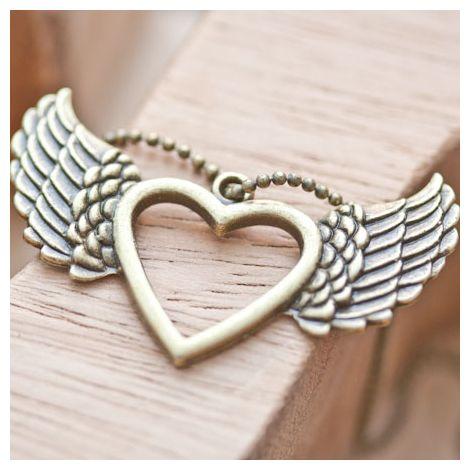 Pendentif Coeur fil volant Bronze vieilli