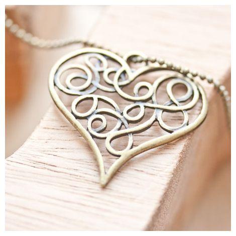 Pendentif Coeur filigrane plat Bronze vieilli