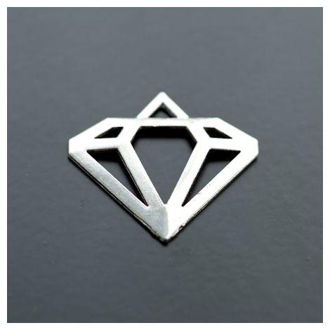 Pendentif Connecteur Diamant Argent vieilli