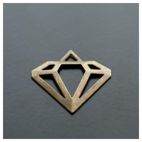 Pendentif Connecteur Diamant Bronze vieilli