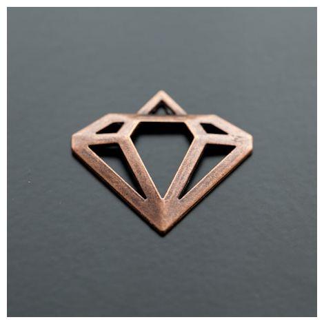 Pendentif Connecteur Diamant Cuivre Rouge