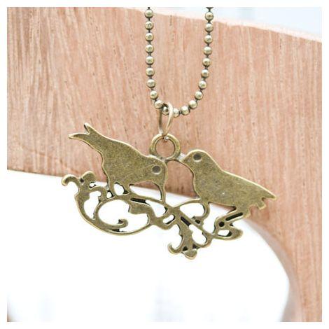 Pendentif Double oiseaux Bronze vieilli