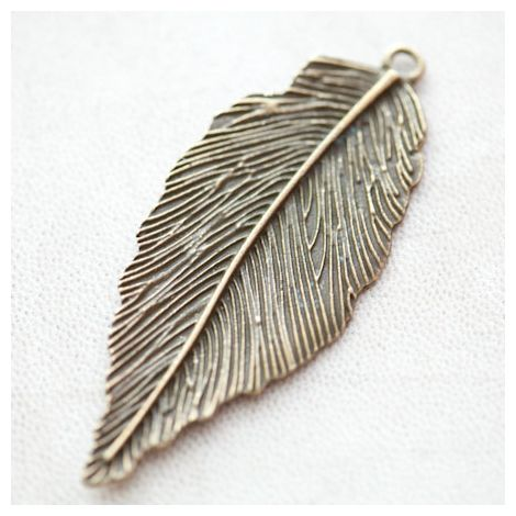 Pendentif Grande Feuille 61mm Bronze vieilli