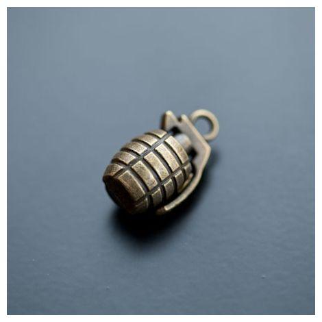 Pendentif Grenade 23mm Bronze vieilli