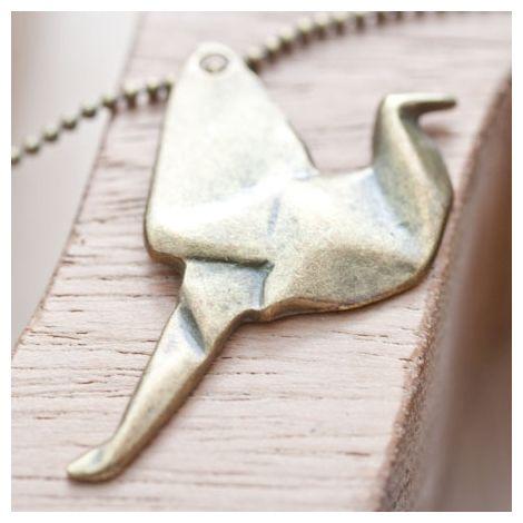 Pendentif Oiseau Origami Bronze vieilli