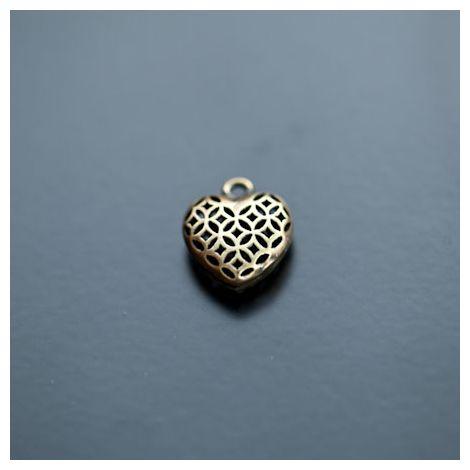 Pendentif Petit Coeur filigrane 13mm Relief Bronze vieilli