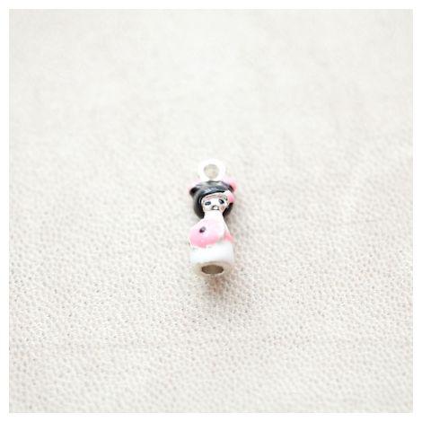 Pendentif Poupée Japonaise Kokeshi 18mm Argenté Émaillé Rose