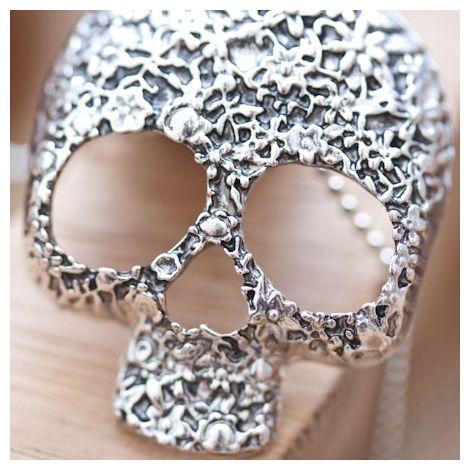Pendentif Skull Crâne Fleur Tendance Argent vieilli
