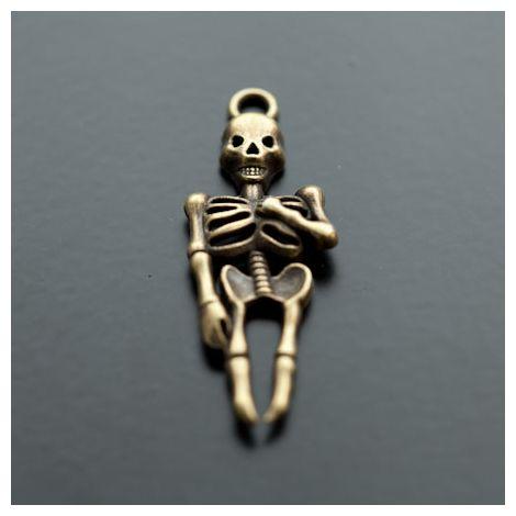 Pendentif Squelette Bronze vieilli