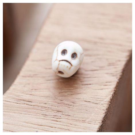 Perle de Gemme Petite Tête de mort - Skull 10mm Blanc