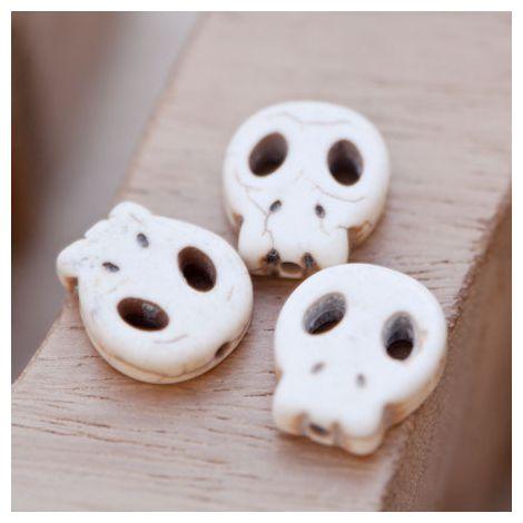 Perle de Gemme Tête de mort - Skull 15mm Plat Blanc