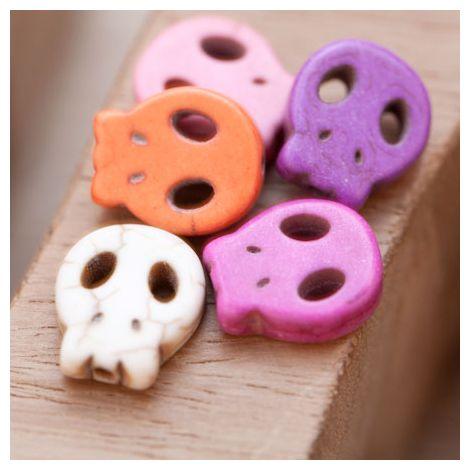 Perle de Gemme Tête de mort - Skull 15mm Plat Couleur Mixte