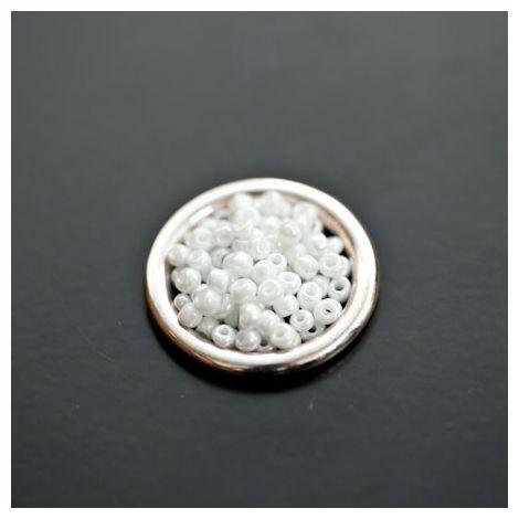Perle de Rocaille 2mm Verre Blanc Nacré