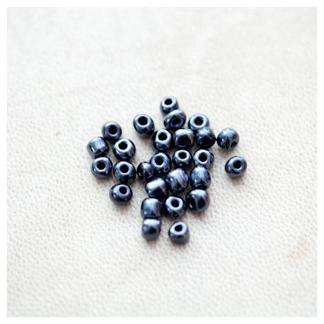 Perle de Rocaille 4mm Noir miroir