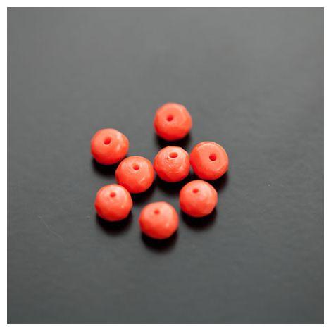 Perle de Turquoise Synthétique Boulier 6mm Facettes Rouge Orange