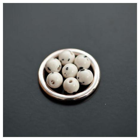 Perle de Turquoise Synthétique Rond 6mm Blanc Dalmatien