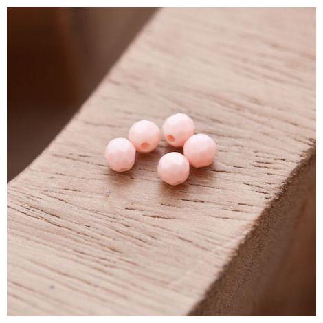 Perle en Corail Rond 4mm Rose Pastel