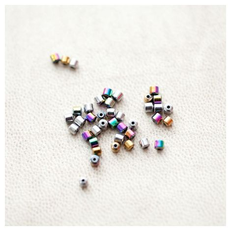 Perle en Hématite 2mm Bidon Couleur Mixte