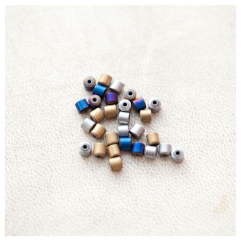 Perle en Hématite 3mm Colonne Couleur Mixte
