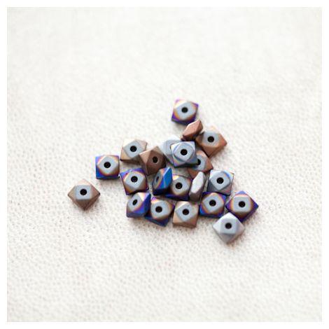 Perle en Hématite 4.5mm Carré Boulon Couleur Mixte
