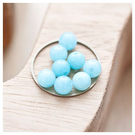 Perle en Jade Ronde 6mm Bleu clair
