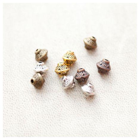 Perle en métal Bicône 6.5mm Creuse Motifs Couleur Mixte