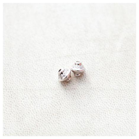 Perle en métal Bicone 7x6.5mm Motifs Argent vieilli