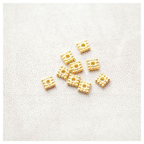 Perle en métal Carré 5x5mm Plat Séparateur Doré