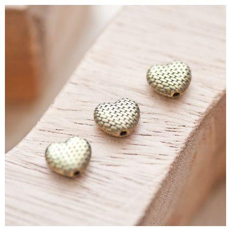 Perle en métal Coeur 8.5x10mm Quadrillée Bronze vieilli