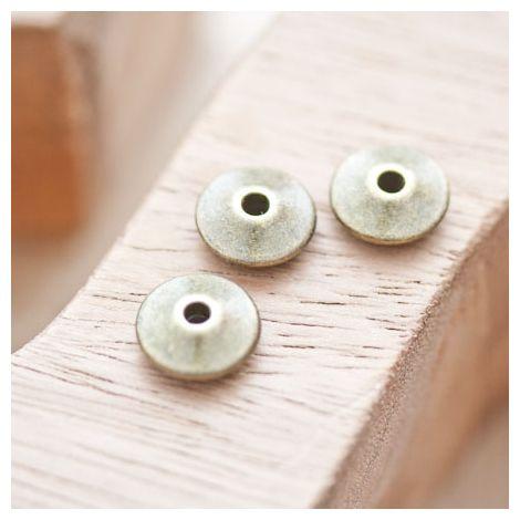 Perle en métal Disque 11mm Toupie Bronze vieilli