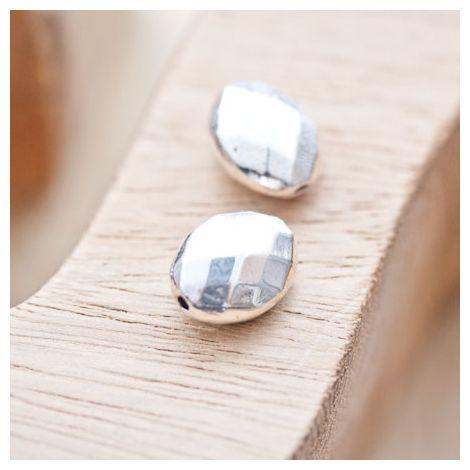 Perle en métal Ovale 14x11mm à facettes Argent vieilli