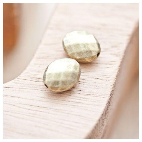 Perle en métal Ovale 14x11mm à facettes Bronze vieilli