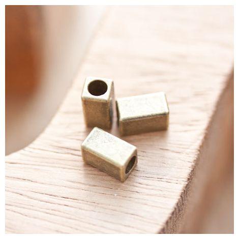 Perle en métal Rectangle 10x5.5mm Tube Bronze vieilli x 8