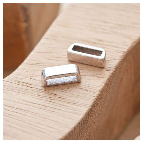 Perle en métal Rectangle 13.5x5mm Coulissant Argent vieilli