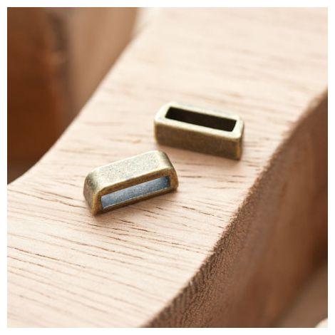 Perle en métal Rectangle 13.5x5mm Coulissant Bronze vieilli