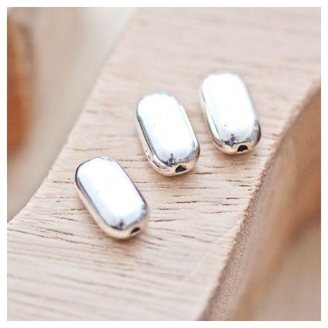 Perle en métal Rectangle 14x8mm Plate arrondie Argent vieilli