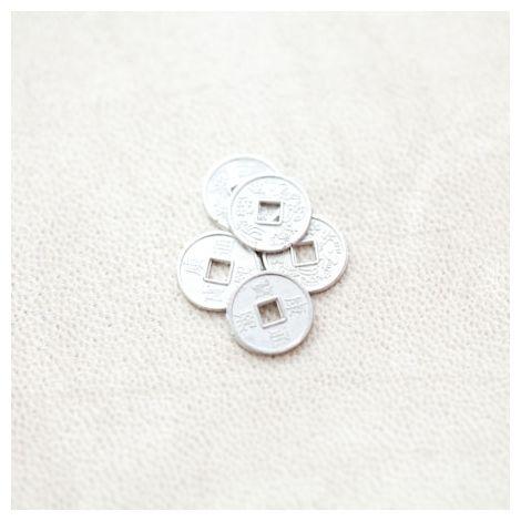 Perle en métal Rond 10mm Pièce Argenté gris