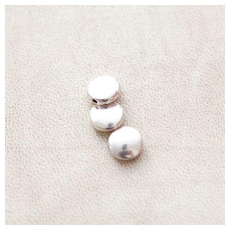 Perle en métal Rond 9mm Plat Argent vieilli