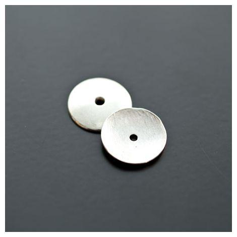 Perle en métal Ronde 15mm Plate Argent vieilli